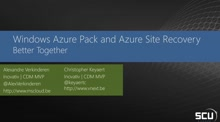 Windows Azure Pack and Azure Site Recovery: Better Together