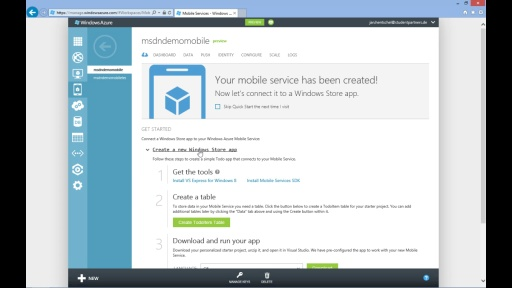 Tutorial - Windows Azure Mobile Services - Teil 2/5 Erstellung eines Mobile Services