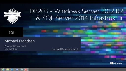 Windows Server 2012 R2 og SQL Server 2014 infrastruktur