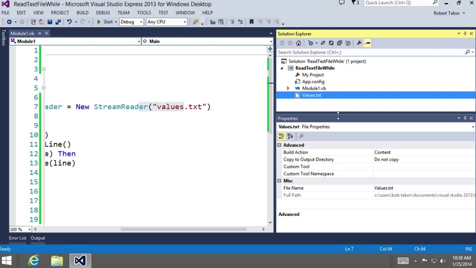 Visual Basic Fundamentals for Absolute Beginners: (12) While Iterations and  Reading Data from a Text File