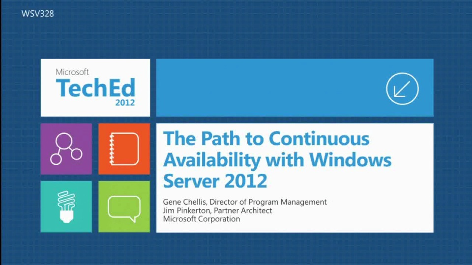 The Path to Continuous Availability with Windows Server 2012