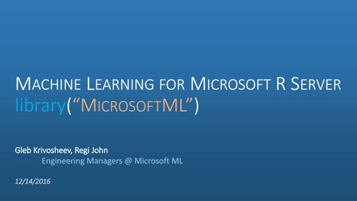 Introduction to MicrosoftML