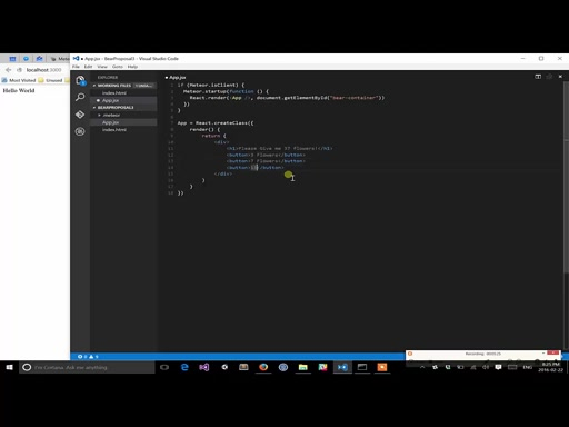 ReactJS with Meteor using Visual Studio Code