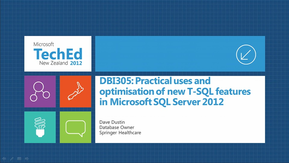 Practical Uses and Optimisation of New T-SQL Features in Microsoft SQL Server 2012
