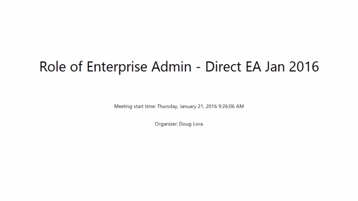 Role of the Enterprise Administrator for a Direct EA Enrollment