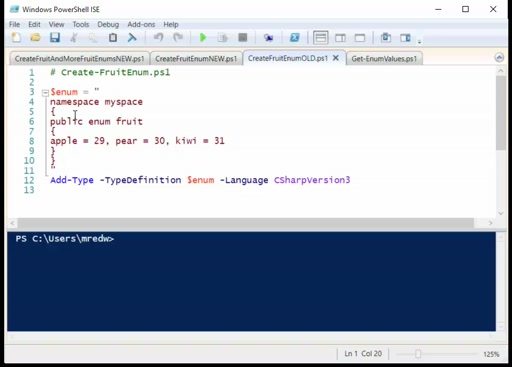 PowerShell 5 - Creating an Enum