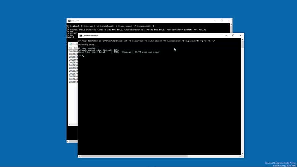 Loading data into Azure SQL Data Warehouse with BCP