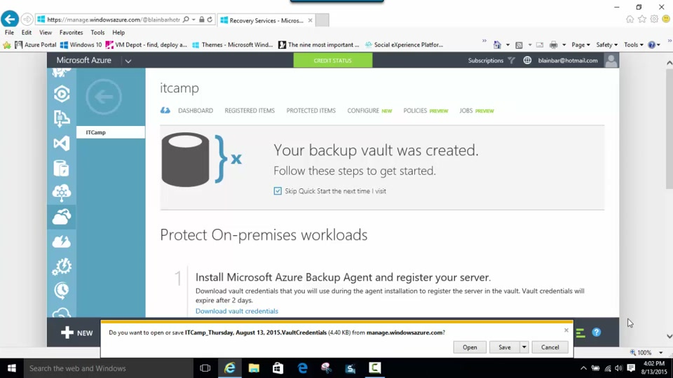 Using vault credentials to authenticate with the Azure Backup service