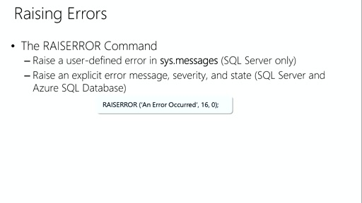 Querying with Transact-SQL: (11) Error Handling and Transactions