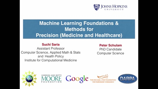 ML Foundations and Methods for Precision Medicine and Healthcare