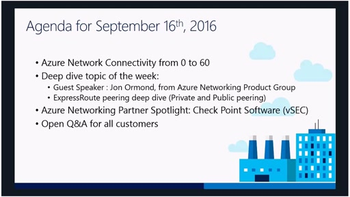 Azure Networking Fridays 09/16/2016