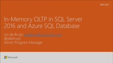 Review In-Memory OLTP in SQL Server 2016 and Azure SQL Database