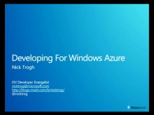 ISV Discovery Day Developing for Windows Azure