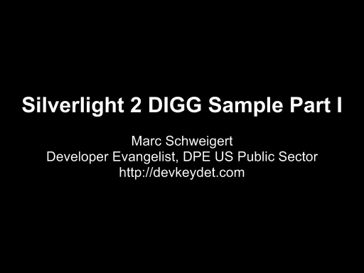 Silverlight 2 DIGG Sample Part I