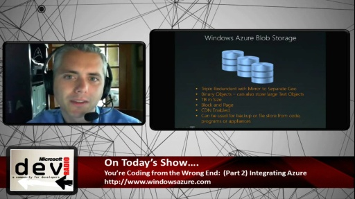 Microsoft DevRadio: (Part 2) You're Coding from the Wrong End: Integrating Azure