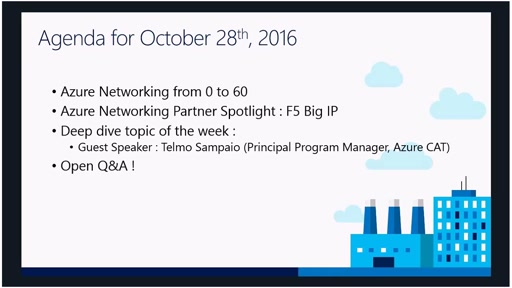 Azure Networking Fridays 10/28/2016
