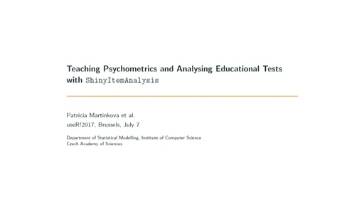 Teaching psychometrics and analysing educational tests with **ShinyItemAnalysis**