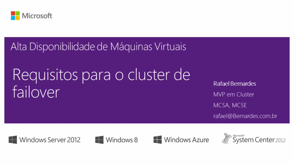 Requisitos para o cluster de failover