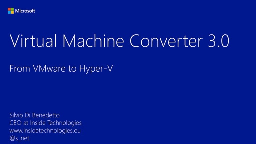 Microsoft Virtual Machine Converter 3.0 - Introduzione