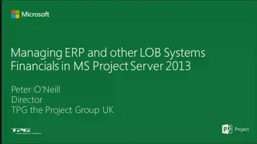 Managing ERP and other LOB Systems Financials in MS Project Server 2013