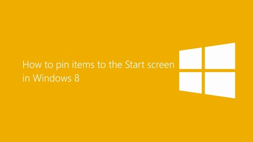 How to pin items to the Start screen in Windows 8