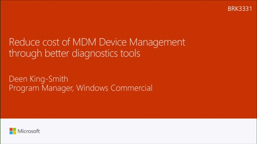 Reduce cost of MDM Device Management through better diagnostics tools