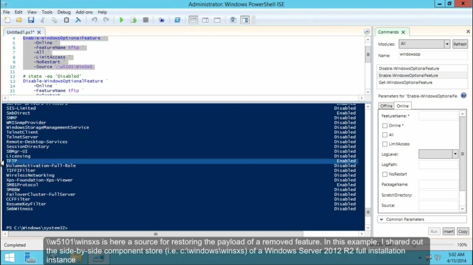 TechNet Radio: (Part 2) Windows Server 2012 R2 Features on Demand - DISM PowerShell Cmdlets