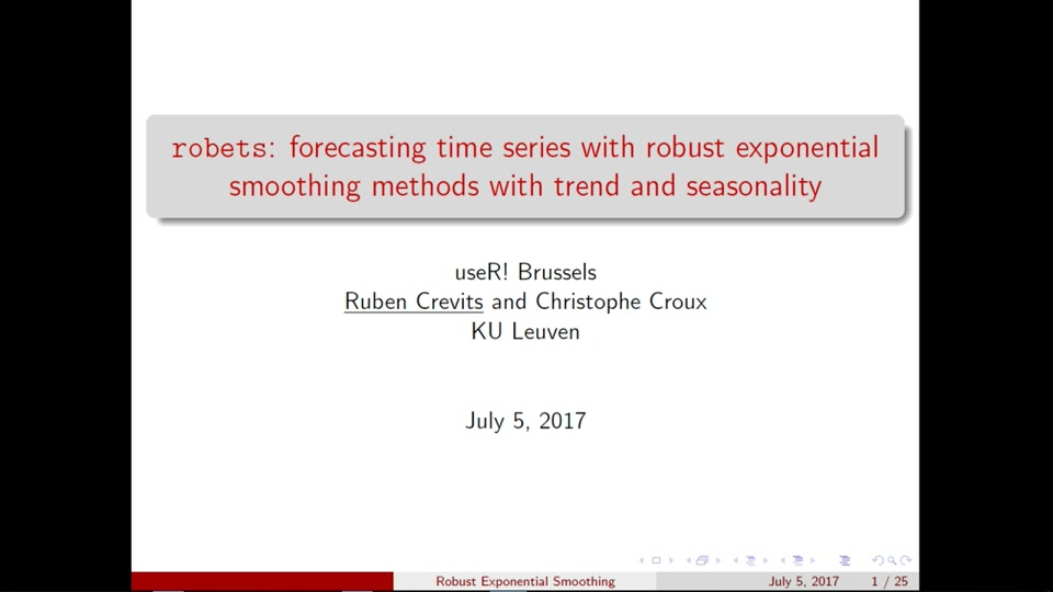 Robets: Forecasting with Robust Exponential Smoothing with Trend and  Seasonality