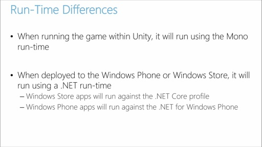 Porting Unity Games to Windows 8.1 and Windows Phone: (03) Dealing with a Dual Runtime Environment