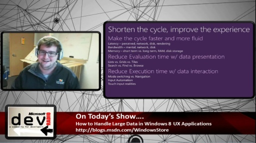 Microsoft DevRadio: (Part 1) UX Guidance for Handling Large Data in Windows 8 Apps