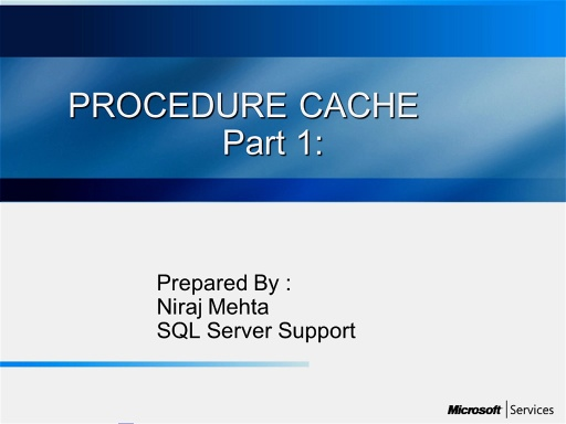 Procedure cache - Part I