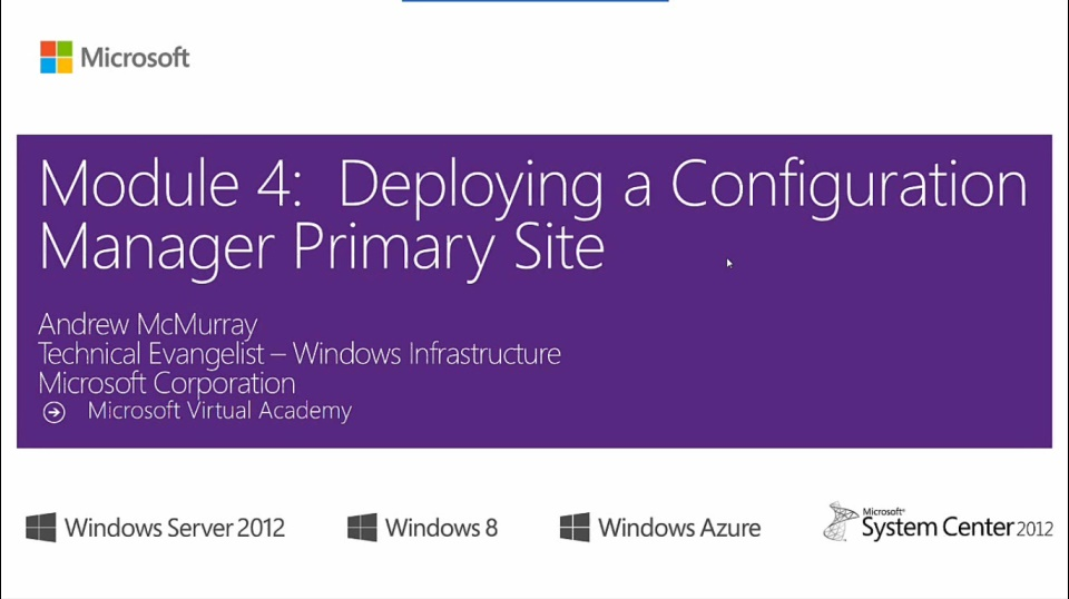 (Module 4) Deploying a Configuration Manager Primary Site