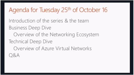 October - Overview of Azure Virtual Networks