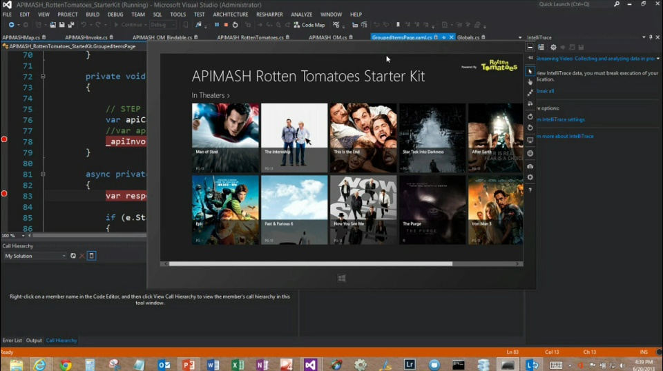 Microsoft DevRadio: (Part 7) APIMASH – Chuck Norris & Rotten Tomatoes API Starter Kits for Windows Store Apps