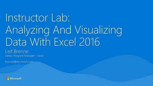 Analyzing And Visualizing Data With Excel 2016