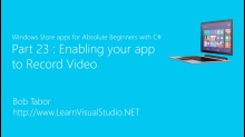 Part 23: Enabling your app to Record Video