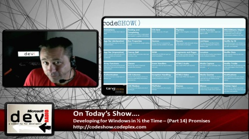 Microsoft DevRadio: Developing for Windows 8 in 1/2 the Time (Part 14) Promises