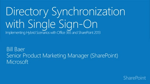 Module 2.2: Directory Synchronization with Single Sign-On for SharePoint hybrid