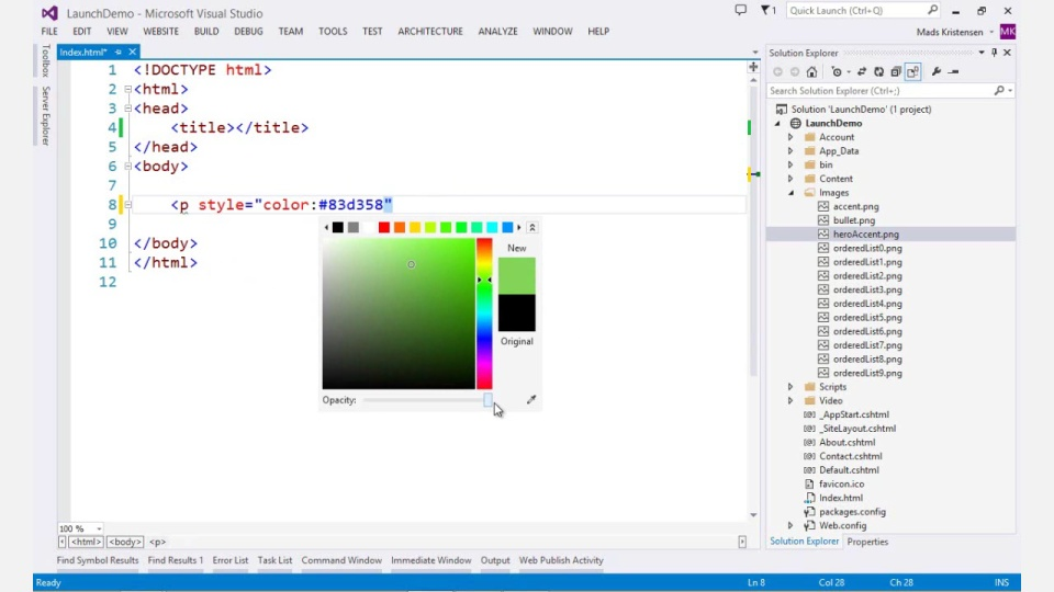 visual studio 2013 web editor features html editor asp net site videos channel 9. Black Bedroom Furniture Sets. Home Design Ideas