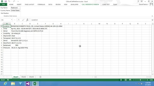 How to call Web service in Excel using Visual Studio Tools for Office