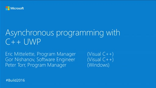 Async Programming Improvements for C++ and UWP