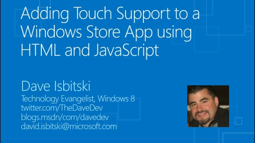 Adding Touch Support to a Windows Store App using HTML and JavaScript