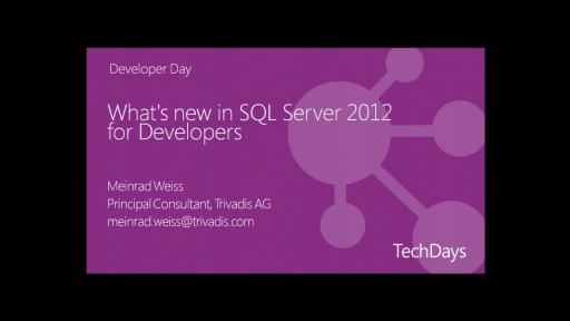 What's new in SQL Server 2012 for Developers