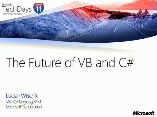 TechDays 11 Basel - The Future of C# and Visual Basic
