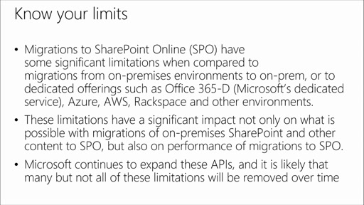 SharePoint Online Migration Planning: (03) SharePoint Online Limitations