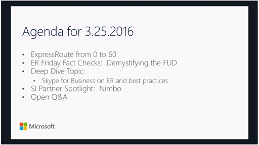 ExpressRoute Fridays 03/25/2016