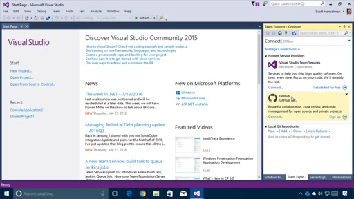 Getting Started with Visual Studio – Opening a project from Source Control