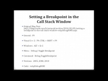 Setting a Breakpoint in the Call Stack Window