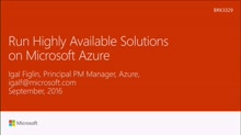 Run highly available solutions on Microsoft Azure