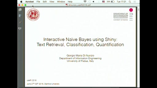 Interactive Naive Bayes using Shiny: Text Retrieval, Classification, Quantification